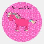 Pink unicorn valentine hearts classic round sticker