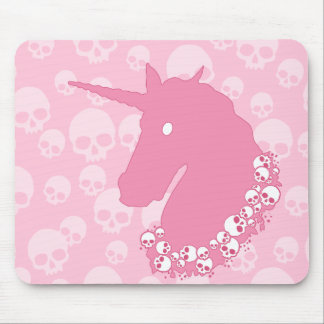 Pink Unicorn with Skulls Mouse Pad