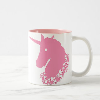 Pink Unicorn with Skulls Two-Tone Coffee Mug