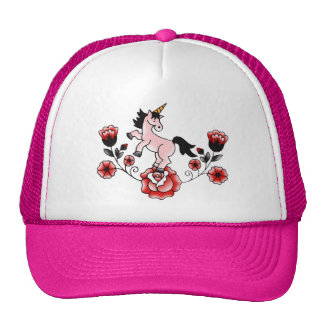 Pink Unicorn with Traditional Roses Trucker Hat