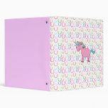 Pink unicorn with white stars binder