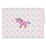 Pink unicorn with white stars greeting cards