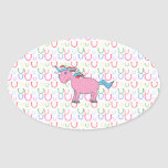 Pink unicorn with white stars oval sticker