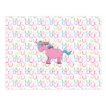 Pink unicorn with white stars post cards