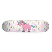 Pink unicorn with white stars skateboard deck