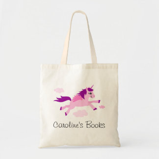 Pink unicorn with wings personalized library book budget tote bag