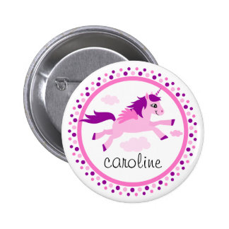 Pink unicorn with wings personalized name button