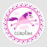 Pink unicorn with wings personalized name classic round sticker