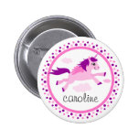 Pink unicorn with wings personalized name pin