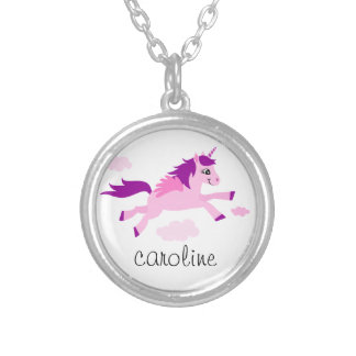 Pink unicorn with wings personalized name round pendant necklace