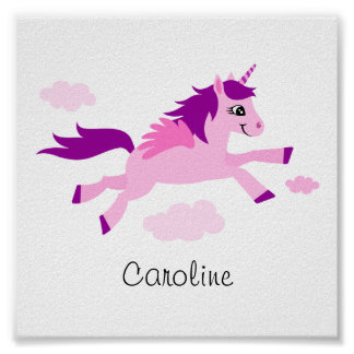 Pink unicorn with wings, wall art for children poster