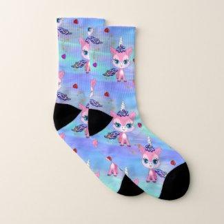 Pink Unicorns and Hearts Socks