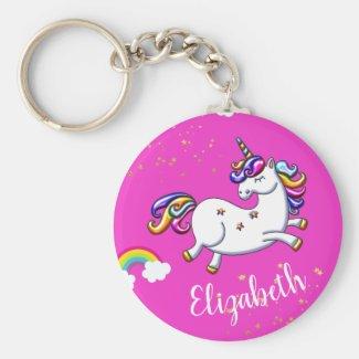 Pink Unicorns Gold Stars and Rainbow Keychain