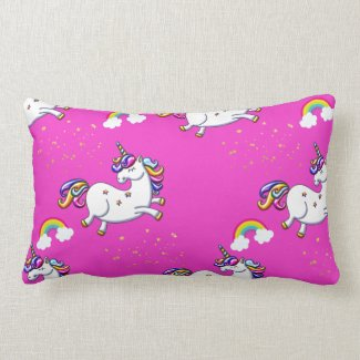 Pink Unicorns Gold Stars and Rainbow Lumbar Pillow