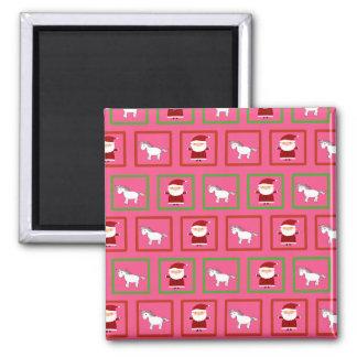 Pink unicorns santa claus pattern 2 inch square magnet
