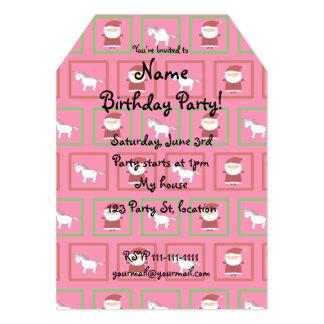 Pink unicorns santa claus pattern 5x7 paper invitation card