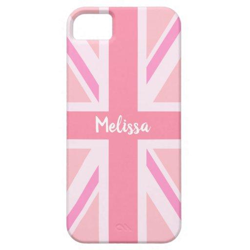Pink Union Jack/Flag (Customized) iPhone SE/5/5s Case