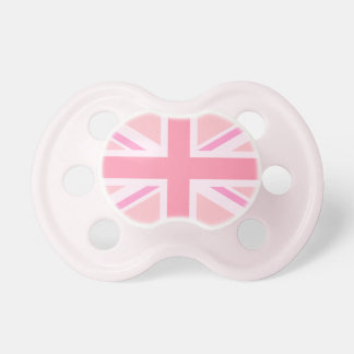 Pink Union Jack Flag Baby Pacifiers