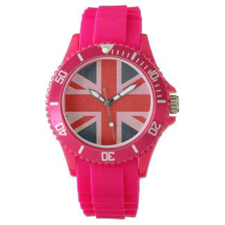 Pink Union Jack Sporty Silicone Watch