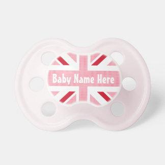 Pink Union Jack United Kingdom British Flag Baby Pacifier