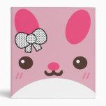 Pink Usagi Bunny Rabbit 3 Ring Binders