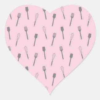 Pink Utensil Print Kitchen Whisk Spoon Cooking Heart Sticker