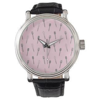 Pink Utensil Print Kitchen Whisk Spoon Cooking Wrist Watch
