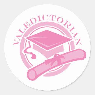 Pink Valedictorian Graduation Gift Classic Round Sticker