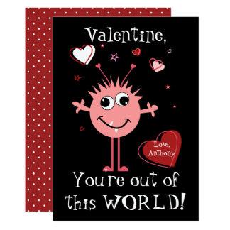 Pink Valentine Alien Monster Card