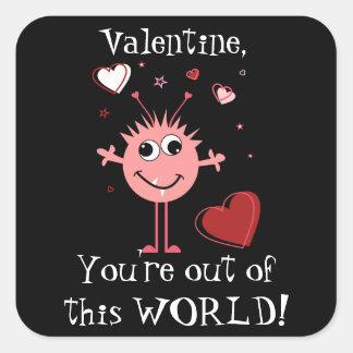 Pink Valentine Alien Monster Card Square Sticker