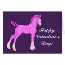 Pink Valentine Draft Horse Foal Card