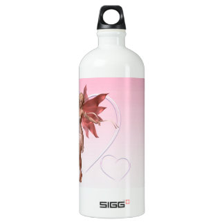 Pink Valentine Fairy and frosted pink hearts - 1 Aluminum Water Bottle