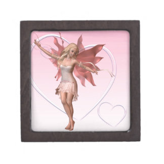 Pink Valentine Fairy and frosted pink hearts - 1 Gift Box