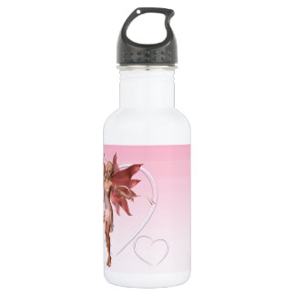 Pink Valentine Fairy and frosted pink hearts - 1 Water Bottle