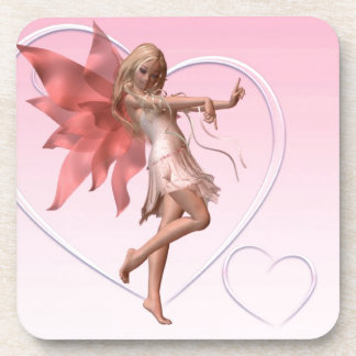 Pink Valentine Fairy and Pink Hearts Beverage Coaster