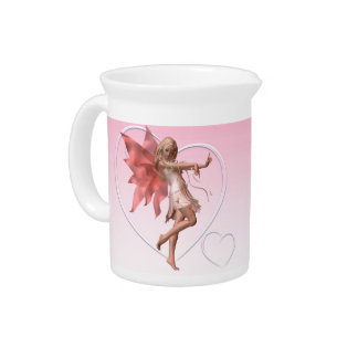 Pink Valentine Fairy and Pink Hearts Beverage Pitcher