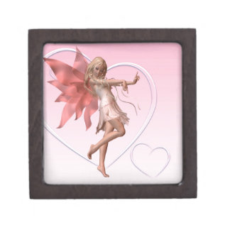 Pink Valentine Fairy and Pink Hearts Jewelry Box
