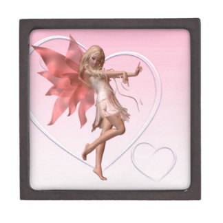Pink Valentine Fairy and Pink Hearts Keepsake Box