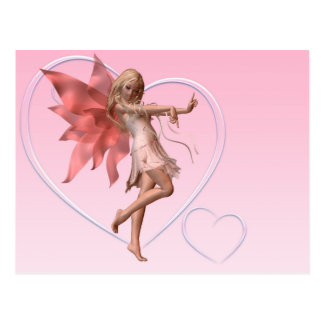 Pink Valentine Fairy and Pink Hearts Postcard