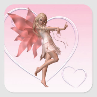 Pink Valentine Fairy and Pink Hearts Square Sticker