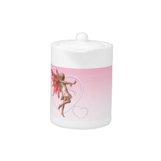 Pink Valentine Fairy and Pink Hearts Teapot