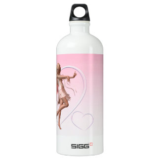 Pink Valentine Fairy and Pink Hearts Water Bottle
