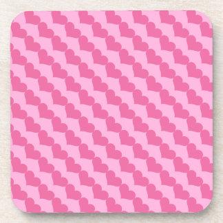 Pink Valentine Hearts Pattern on Lighter Pink Coaster