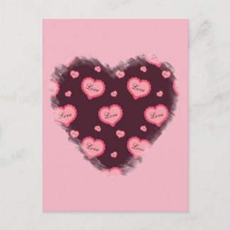 Pink Valentine Love Heart Holiday Postcard