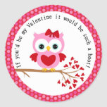 Pink Valentine Owl with Heart Stickers