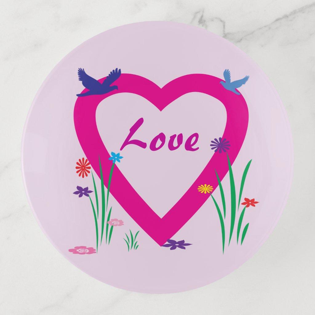 Pink Valentine Spring Heart Love Trinket Tray