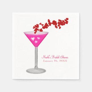 Pink Valentine's Day Cocktail Custom Party Napkin