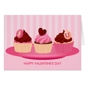 Pink Valentine's Day Cupcakes Greeting Card