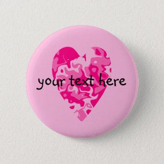 Pink Valentines Day heart Pinback Button