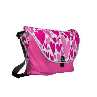 Pink Valentine's hearts Messenger Bag